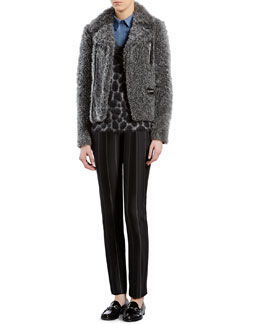Gucci Gray Curly Lamb Biker Jacket, Leopard-Effect Mohair V-Neck Sweater, Leopard-Print Straight Shirt & Macro Pinstripe Pants