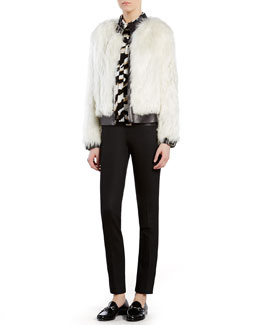 Gucci Alpaca Fur Biker Jacket, Tiger-Print Crepe de Chine Shirt & Wool Pants with Leather Waistband