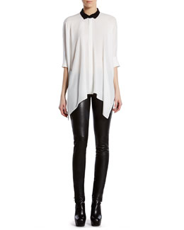 Gucci Silk Satin Georgette Cape Shirt & Stretch Leather Leggings
