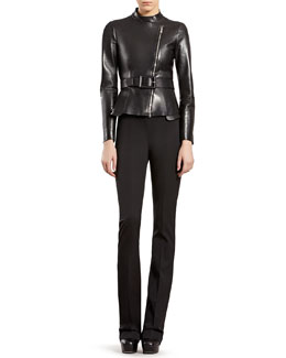 Gucci Leather Zip-Front Jacket & Silk-Wool Flare Pants