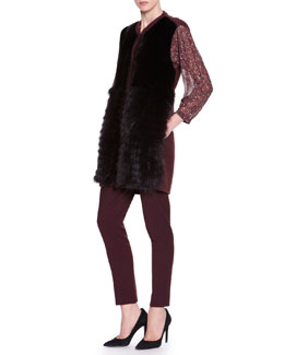 Piazza Sempione Mink/Fox Fur Knit-Trim Vest, 3/4 Puff-Sleeve Smocked Pleat Top & Stretch Wool Ankle-Length Pants