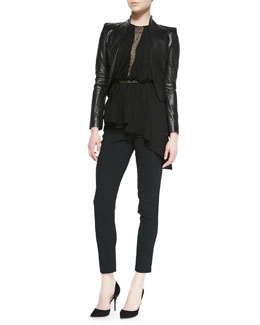 Halston Heritage Cropped Leather Jacket, Asymmetric Jersey/Lace Sleeveless Top & Slim Crepe Ankle Pants