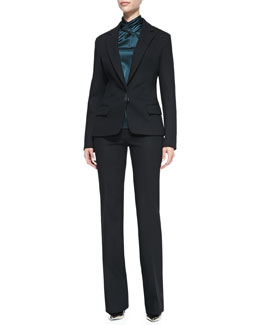 Jason Wu Bi-Stretch Wool Lapel Jacket, Long-Sleeve Hammered Silk Blouse & Bootcut Pants