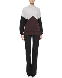 Jason Wu Long-Sleeve Colorblock Pullover Sweater & Bi-Stretch Wool Bootcut Pants