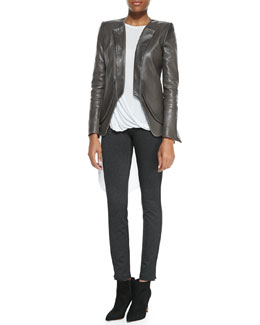 Halston Heritage Lambskin Open-Front Blazer, Jersey Draped-Front Sleeveless Top & Jersey Leather-Inset Fitted Pants