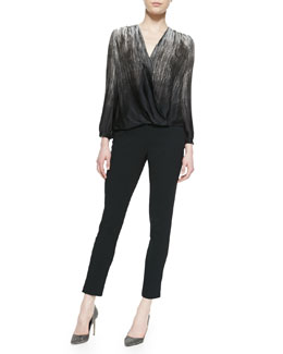 Halston Heritage Cropped Metallic Leather Jacket, Printed Satin Wrap-Front Top & Slim Crepe Ankle Pants
