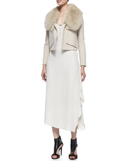 Halston Heritage Fox Fur Collar Cropped Jacket & Crepe Layered-Skirt Sleeveless Maxi Dress
