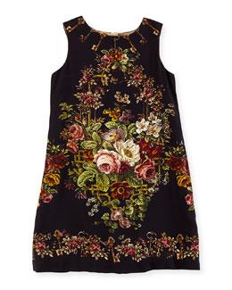 Dolce & Gabbana Girls' Rose Tapestry-Print Shift Dress