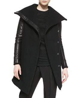 Helmut Lang Inclusion Leather-Sleeve Felt Jacket & Trance Mix-Pattern Knit Sweatshirt