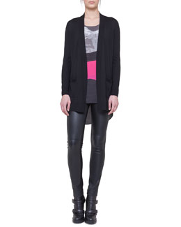 Akris punto Swiss Alps Printed-Back Cardigan, Printed-Front Shell & Leather and Jersey Leggings