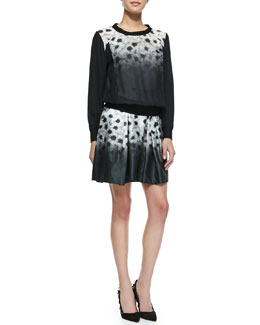 Milly Camellia Silk-Overlay Sweatshirt & Katie Pleated Floral-Print Skirt