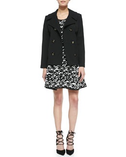 Milly Bonded Crepe Pea Coat & Camo-Print Jacquard Flare Dress