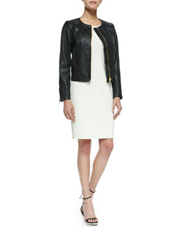 Milly Front-Zip Leather Jacket & Multi-Zip Sleeveless Sheath Dress