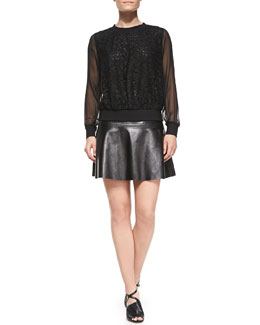 Milly Floral Lace Sweatshirt with Sheer Sleeves & Emmy Flared Leather Skirt