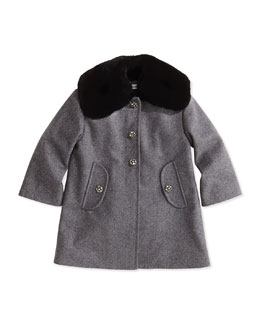 Dolce & Gabbana Girls' Crystal-Flower-Button Fur-Collar Coat