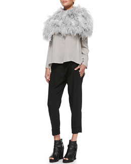 Brunello Cucinelli Ostrich Feather Knit Capelet, Monili-Trim Henley Top & Double-Pleat Carrot Pants
