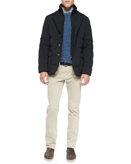 Wind Stretch Storm System Quilted Jacket, Girocollo Cashmere Crewneck Sweater, Andre Denim Button-Down Shirt & 5-Pocket Denim Jeans