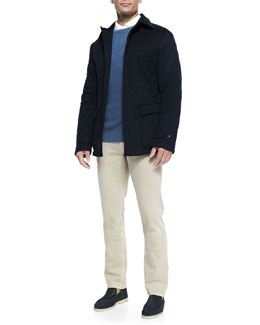 Quilted Belfast Storm System Jacket, Girocollo Cashmere Crewneck Sweater & 5-Pocket Denim Jeans