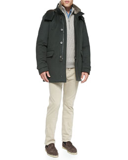 Cashmere Storm System Jacket, Diagonal-Jacquard Cashmere Pullover, Andre Denim Button-Down Shirt & 5-Pocket Denim Jeans
