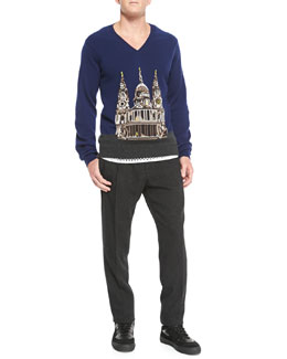 Burberry Prorsum Printed Cashmere V-Neck Sweater, Cotton-Jersey Mesh Tank Top & Wool/Cashmere Tweed Trousers