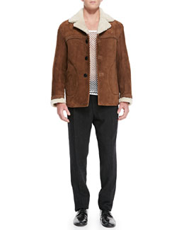 Burberry Prorsum Suede Jacket with Shearling Fur Collar, Cotton-Jersey Mesh Tank Top & Wool/Cashmere Tweed Trousers