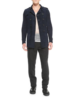 Burberry Prorsum Suede Trench Coat, Cotton-Jersey Mesh Tank Top & Wool/Cashmere Tweed Trousers