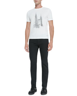 Burberry Prorsum New York City Graphic Tee & Slim-Fit Denim Jeans