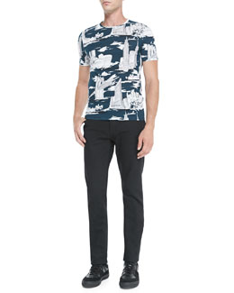 Burberry Prorsum NYC Landmark Printed Tee & Slim-Fit Denim Jeans