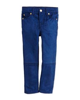 Girls' Skinny Sueded Jeans, Navy