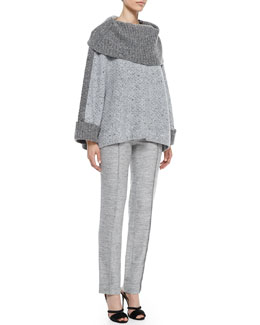 Carolina Herrera Turtleneck Box Sweater & Melange Tweed Trousers