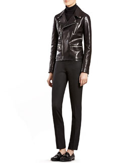 Gucci Black Leather Biker Jacket, Black Cashmere Ribbed Cashmere Turtleneck Sweater & Black Wool Pants with Leather Waistband