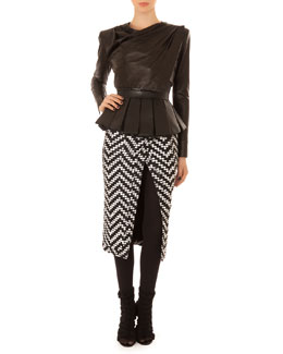 Balmain Leather Drape-Neck Crop Top, Pleated Leather Peplum Bustier & Chevron Tweed Slit Skirt