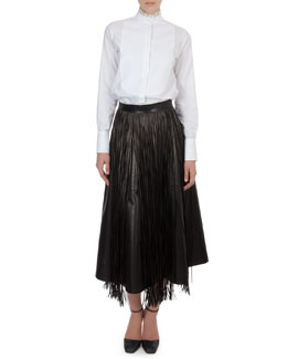 Valentino Organza-Collar Cotton Blouse, Long Leather Flare Skirt & Fringe Leather Overlay