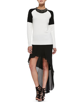 Haute Hippie Colorblock Embellished-Collar Sweater & High-Low Chiffon Skirt