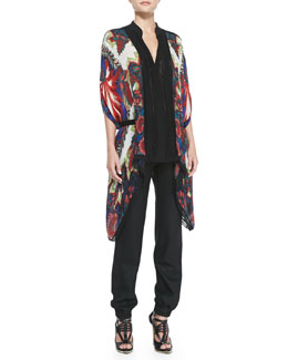 Roberto Cavalli Printed Knit-Trim Chiffon Top & Tie Elastic-Waist Track Pants