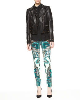 Roberto Cavalli Napa Leather Motorcycle Jacket, Silk Beaded-Inset Blouse & Exotic Floral Print Skinny Jeans
