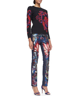 Roberto Cavalli Long-Sleeve Baroque-Print Top & Sequined Exotic-Print Jeans