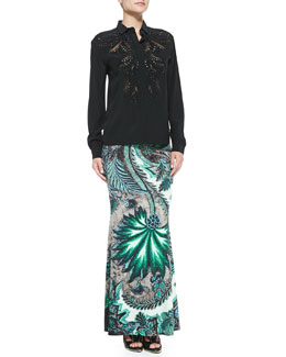 Roberto Cavalli Silk Beaded-Inset Blouse & Long Floral-Print Skirt