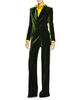 Emilio Pucci Silky Velvet Wide-Lapel Jacket, Scarf-Neck Silk Charmeuse Blouse & Wide-Leg Silky Velvet Pants