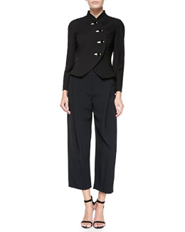 Giorgio Armani Satin-Trim Rounded-Lapel Jacket & Crepe Cady Invert-Pleat Ankle Pants