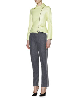 Giorgio Armani Leather Peplum-Hem Motorcycle Jacket, Cashmere High-Neck Camisole & Side-Stripe Slim-Leg Pants