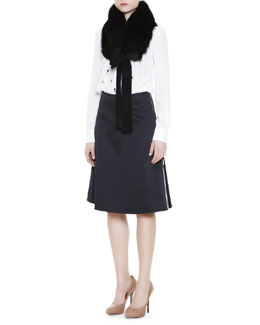Mantu Fox Fur Collar, Embellished Silk Blouse & Side-Zip Contrast-Insert Skirt