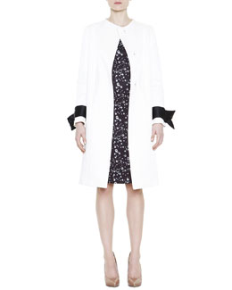 Mantu Snap-Front Coat with Detachable Cuffs & Raindrop-Print Fitted Knit Dress