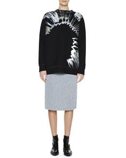 Marni Metallic Splatter-Print Sweatshirt & Back-Flounce Bonded Jersey Skirt