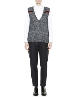Mélange Feather Jewel-Back Sweater Vest, Asymmetric Ruffle-Hem Poplin Blouse & Cropped Flat-Front Yoke Pants