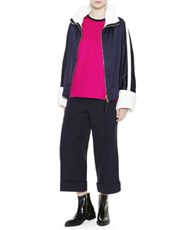 Striped-Sleeve Zip Track Jacket, Short-Sleeve Contrast-Neck Top & Cuffed Cropped Wide-Leg Trousers