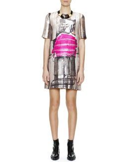 Marni Short-Sleeve Abstract-Print Silk Shift Dress & Mixed Media Collar Necklace