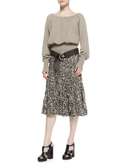 Michael Kors  Knit Blouson Peasant Top & Tulle/Paillette Skirt