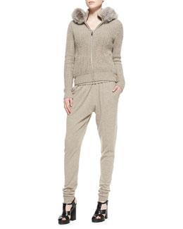 Michael Kors  Fur-Trim Waffle Hoodie, Cashmere Rib-Hem Tank & Wide-Waist Cashmere Sweatpants