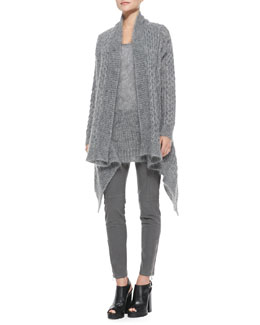 Michael Kors  Long-Sleeve Draped Mohair Cardigan, Mohair Chunky Knit Tank & Stretch Zipper Skinny Pants